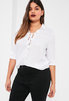 Missguided Plus Size White Lace Up Blouse