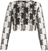 Diane von Furstenberg Round-neck bi-colour lace top