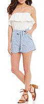 Blu Pepper Strapless Ruffle Striped Side-Pocket Tie-Waist Romper