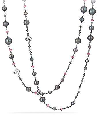 David Yurman Bijoux Bead Link Dyed Gray Cultured Freshwater Pearl Necklace with Hematine and Rhodolite Garnet