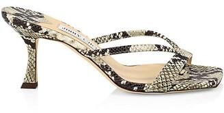 Jimmy Choo Maelie Snakeskin-Embossed Leather Thong Sandals