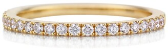 De Beers Yellow Gold Half Pave Diamond Classic Band