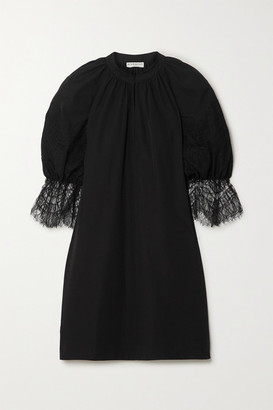Givenchy Lace-trimmed Cotton-poplin Mini Dress - Black