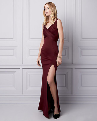 Le Château Pleated Knit V-Neck Gown