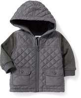 Old Navy Quilted Mixed-Fabric Hooded Jacket for Baby