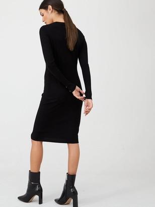 Very V Neck Button Front Dress - Black