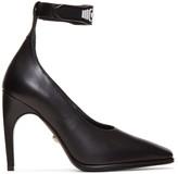 Versace Black & White Logo Strap Heels