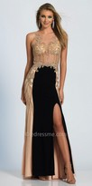 Dave and Johnny Sparkling Sheer Embellished Color Block Prom Dress