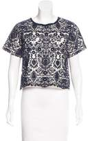 Sea Embroidered Short Sleeve Top