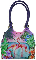 Anuschka Medium Hand-Painted Leather Triple Compartment Satchel