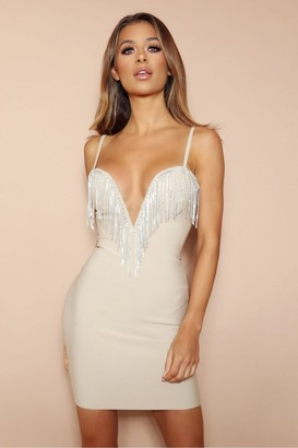 LEMONLUNAR The Milana Beige Diamante Bandage Mini Dress