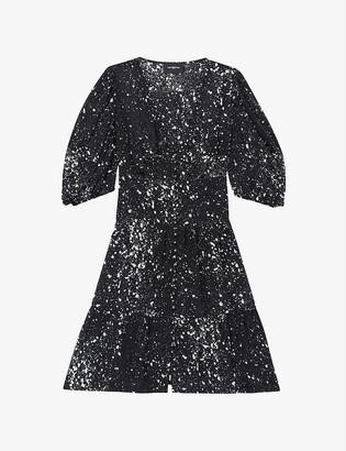 The Kooples Graphic-print V-neck crepe mini dress