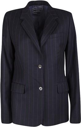 Joseph Black Striped Wool Tailored Blazer L