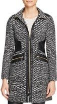 Via Spiga Popcorn Stitch Faux Leather-Trim Coat