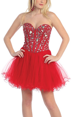 Mayqueen MayQueen Women's Special Occasion Dresses Red - Red Embellished Strapless Sweetheart Dress - Women
