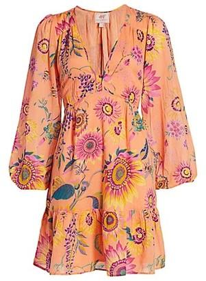 Banjanan Peony Print Cotton Mini Dress