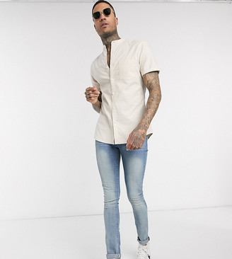 ASOS DESIGN Tall short sleeve slim fit oxford shirt in yarn dye beige with grandad collar