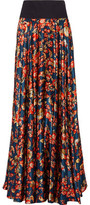 Zac Posen Pleated Floral-Print Silk-Satin Maxi Skirt