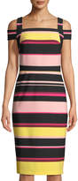 LABEL by five twelve Cold-Shoulder Striped Sheath Dress