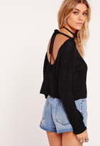 Missguided Scoop Back Cropped Sweater Black