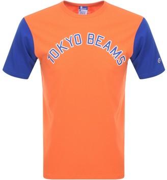 Champion X Beams Crew Neck Logo T Shirt Orange