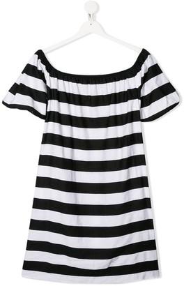 MonnaLisa TEEN striped off-the-shoulder dress