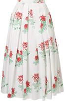 Rosie Assoulin Printed Pleated Cotton-blend Midi Skirt - White