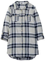 Dex Roll Sleeve Plaid Shirt Tunic (Big Girls)