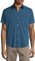 Theory Rammis S. Ostend Short-Sleeve Woven Shirt, Blue