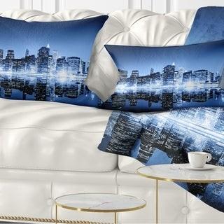 Design Art Designart 'Night New York City Mirrored' Cityscape Throw Pillow