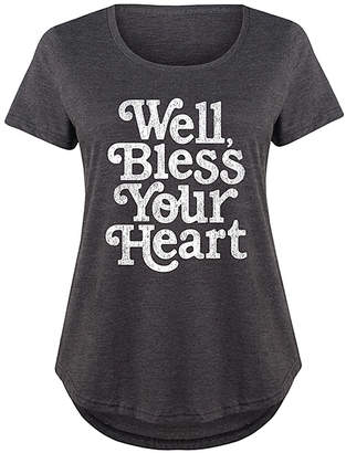 Instant Message Plus Women's Tee Shirts HEATHER - Heather Charcoal 'Well Bless Your Heart' Scoop Neck Tee - Plus