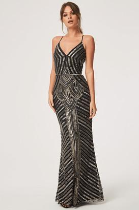 Little Mistress Melania Black Deco Hand Embellished Maxi Dress
