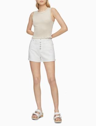 Calvin Klein White Denim High Rise Button-Fly Shorts