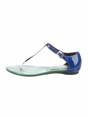Roger Vivier Patent Leather T-Strap Sandals Blue