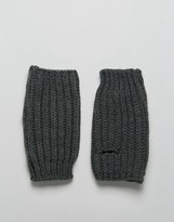 Asos Fingerless Gloves In Charcoal