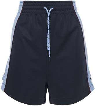 Ganni Two-tone Shell And Jersey Shorts