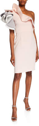 Mikael Aghal One-Shoulder Ruffled Colorblock Dress