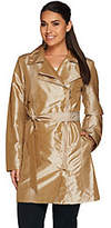 Dennis Basso Water Resistant Metallic Trench w/Shirred Seaming