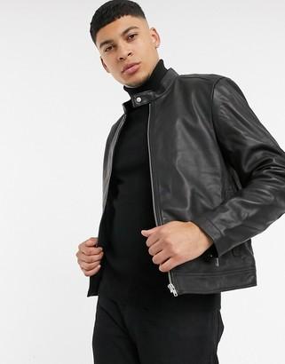 Asos Design DESIGN leather racing biker jacket in black