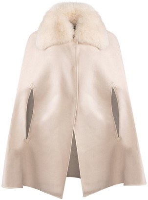 Wolfie Fur Made For Generation Fox Fur Collar Cashmere Wool Cape