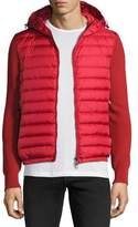 Moncler Hooded Puffer-Front Zip Sweater