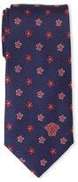 Versace Navy & Red Floral Neat Silk Tie