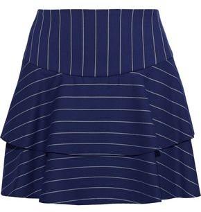 Alice + Olivia Paloma Tiered Pinstriped Twill Mini Skirt