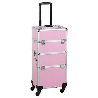 Yaheetech Multicolor Professional 2 in 1 Makeup Beauty Case Cosmetics Technician Case Trolley ()
