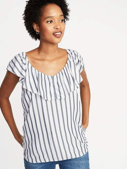Old Navy Sleeveless Ruffle-Trim Striped Top for Women