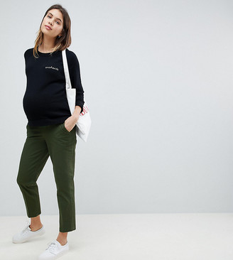 ASOS DESIGN Maternity mom chino in forest green with under the bump waistband