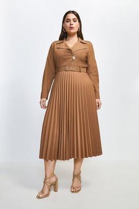 Karen Millen Curve Polished Wool Blend Biker Pleat Dress