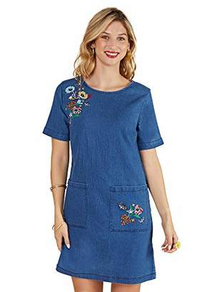 Yumi Butterfly Embroidered Denim Tunic With Pockets