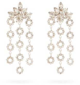 Etro Crystal-embellished Drop Clip Earrings - Womens - Silver