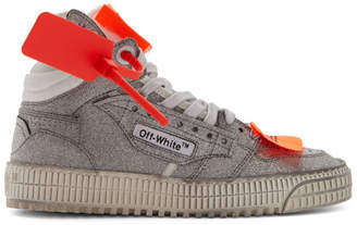 Off-White Off White Silver Glitter Off Court 3.0 High-Top Sneakers